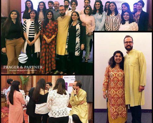 Gruppenfoto mit den Teilnehmern des Workshops in New Delhi. Rechts neben mir steht eine gute Freundin, Dr. Chirnchiv Chhabra Dermatologin in Neu Delhi, India.