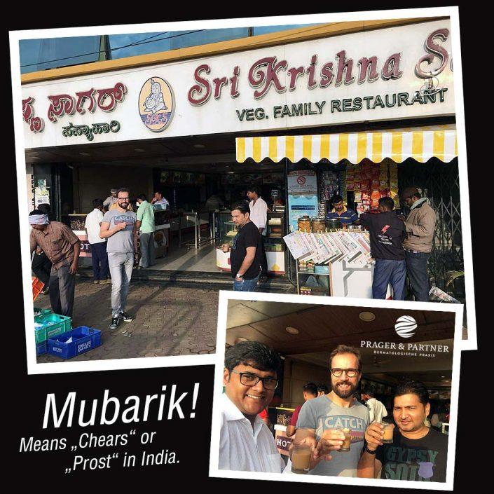 """Viele Grüße aus Neu Delhi! """"Mubarik"""" heißt """"Prost"""" auf indisch. Im Bild meine Begleiter vom Merz Team: Viskas und Amit Shukla. Es gibt zum Frühstück traditionellen Chai Tee (Ich hoffe, dass Wasser hat wirklich gekocht!!!…) Neu Delhi, India."""
